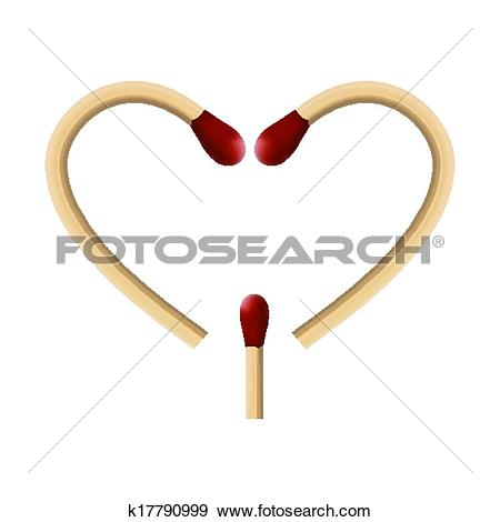 Clip Art of two wooden matches with red wick macro k17790999.