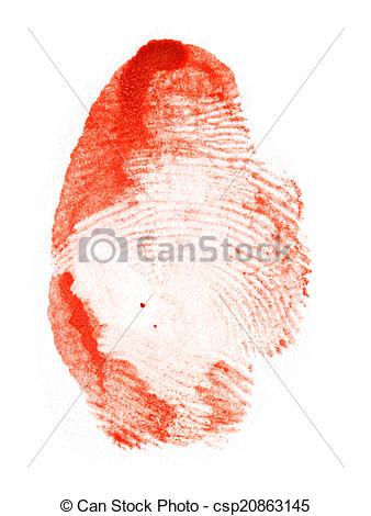 Drawing of red fingerprint. macro csp20863145.