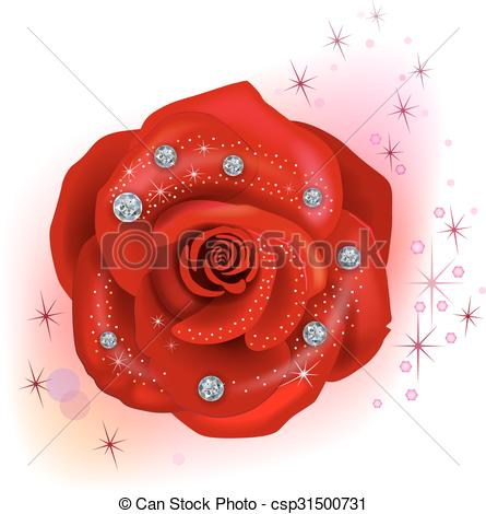 Vectors of Red macro rose with diamonds isolated on white.