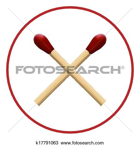 Clipart of two wooden matches with red wick macro k17791063.