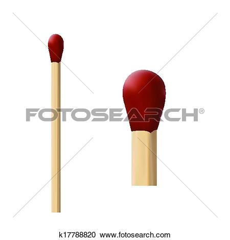 Clipart of two wooden matches with red wick macro k17788820.
