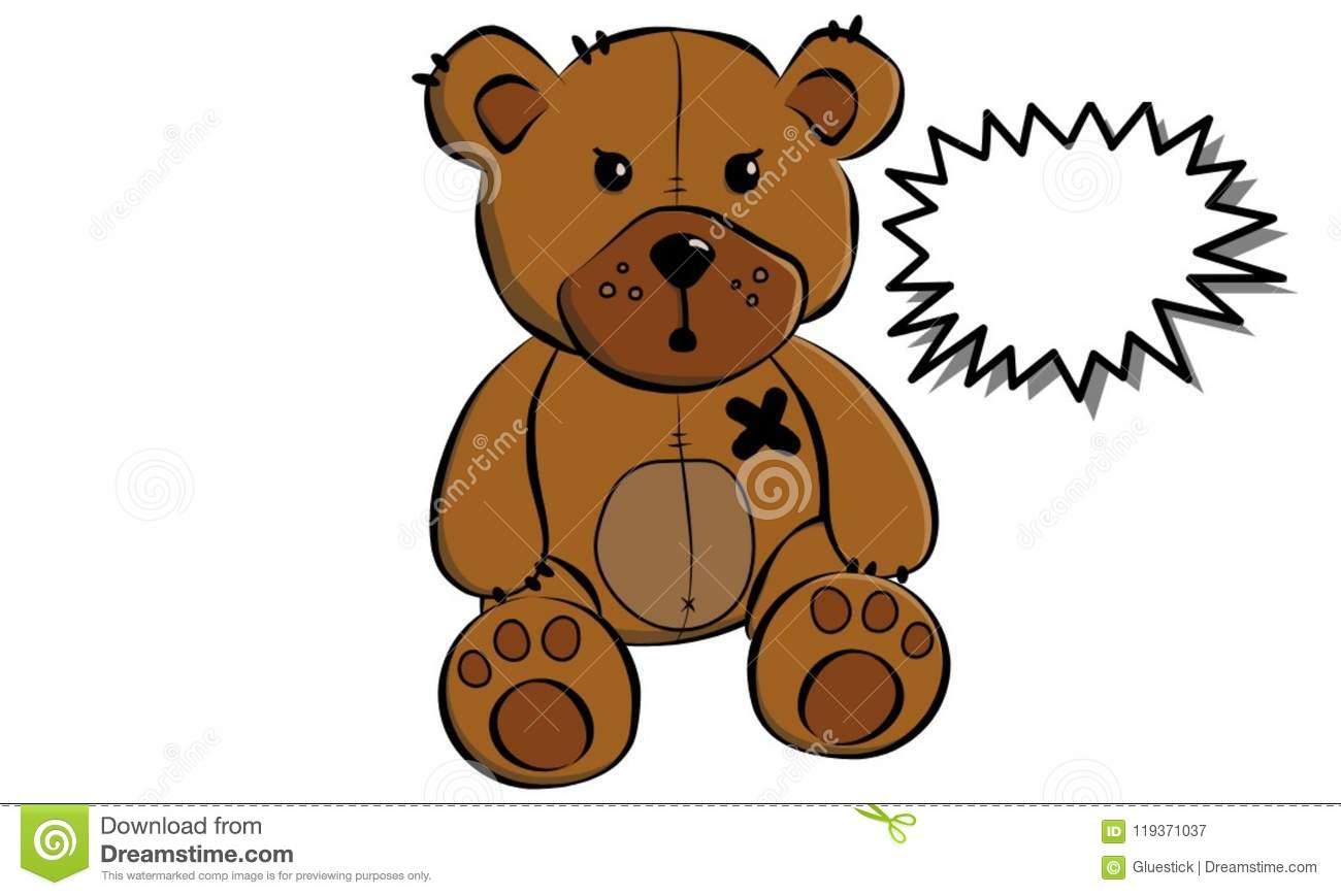 Evil Mad Heartless Teddy Bear Stock Image.