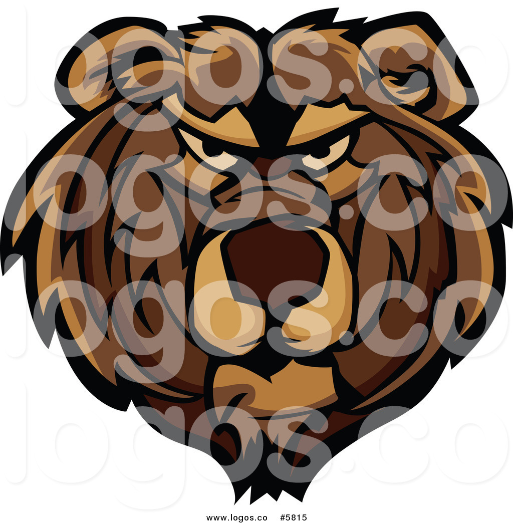 Royalty Free Vector of a Logo of a Mad Bear Face by Chromaco.