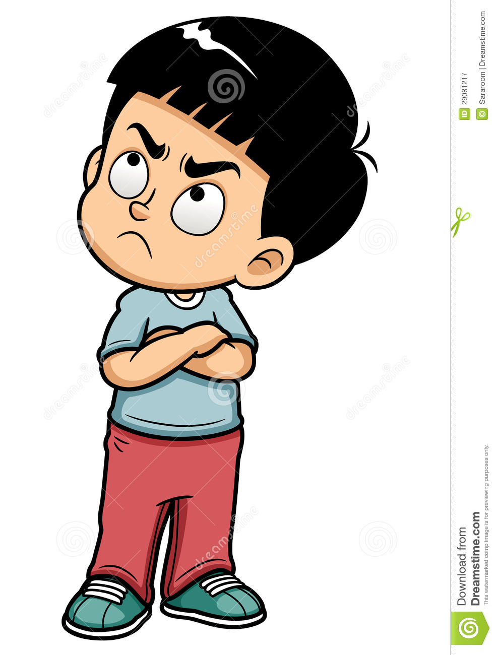 Asian mad boy clipart.
