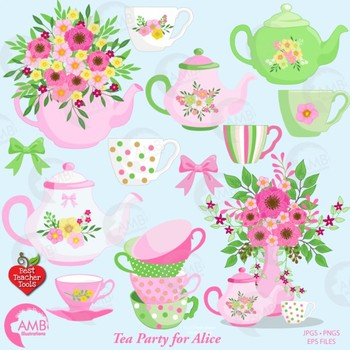 Tea Time Clipart, Shabby Chic Clipart, Mad Hatter Tea Party Clipart,  AMB.