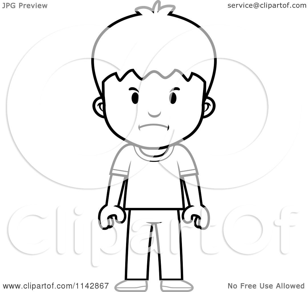 Cartoon Clipart Of A Black And White School Boy With A Mad.