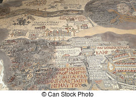 Stock Photography of replica of antique Madaba map of Holy Land.