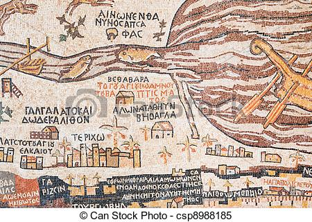 Stock Images of replica of antique Madaba map of Holy Land.