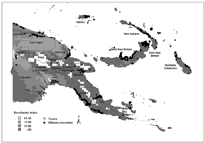 Map indicating where M. micrantha is present in PNG (dots.