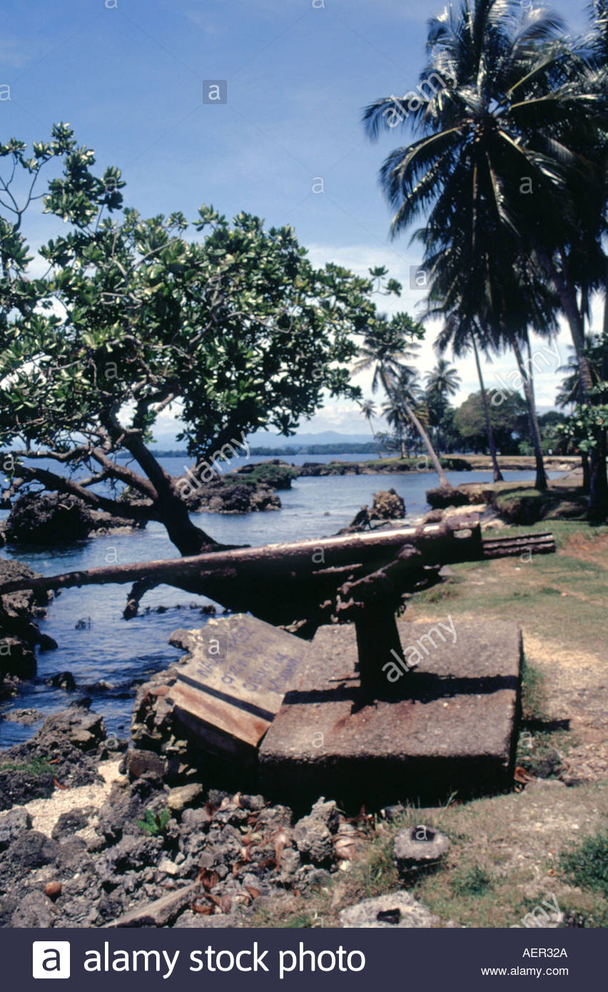 Old World War 2 gun on the banks of Madang Harbour in Papua.