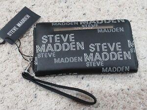 Details about Steve Madden Logo Zip Around Wristlet Clutch Wallet Black.