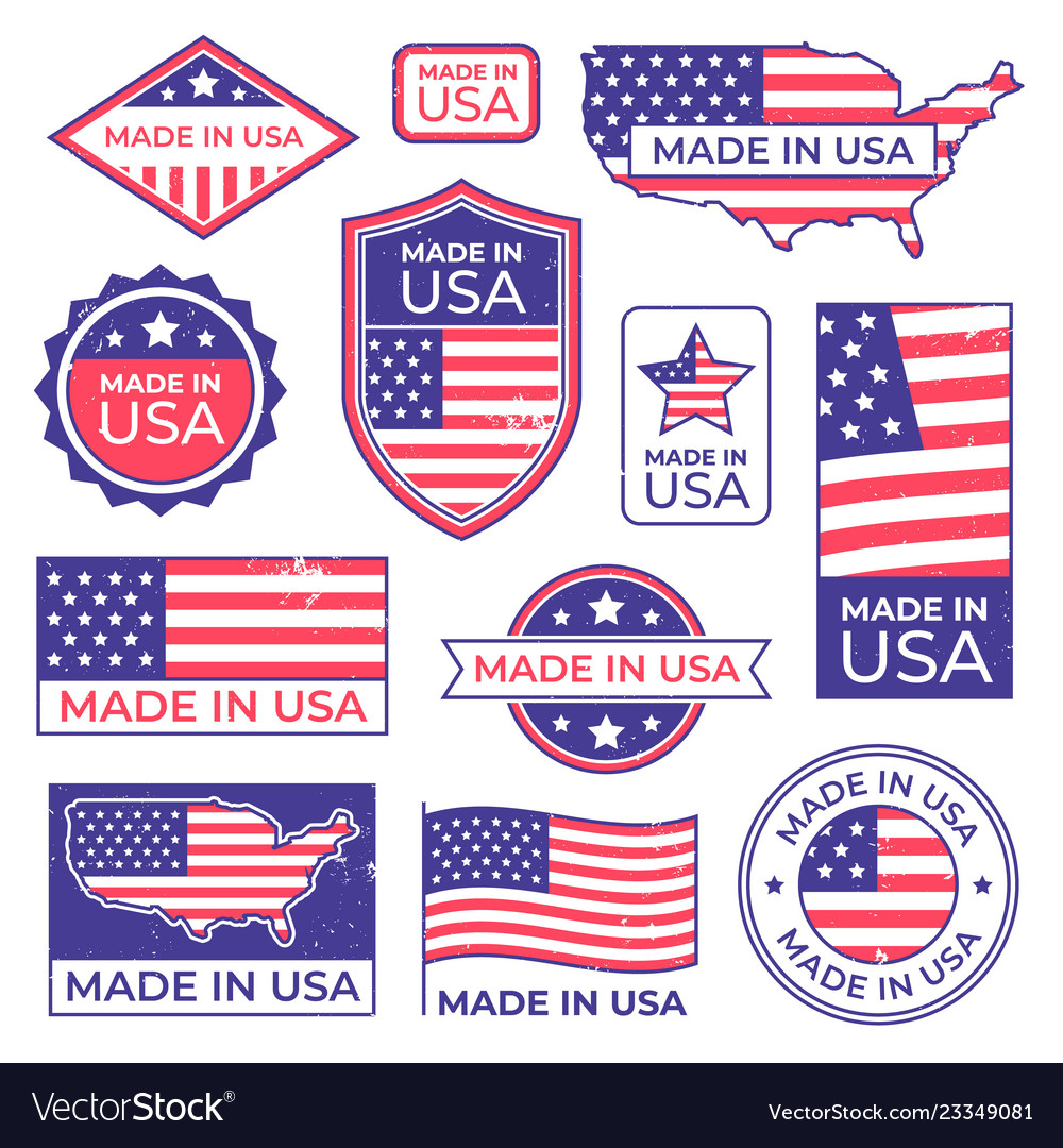 Made in usa logo american proud patriot tag.