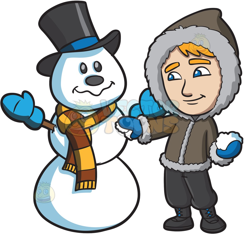 A man touching up the snowman he made » Clipart Station.
