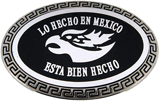 Amazon.com: Hecho En Mexico Eagle Logo Black Metal Belt.