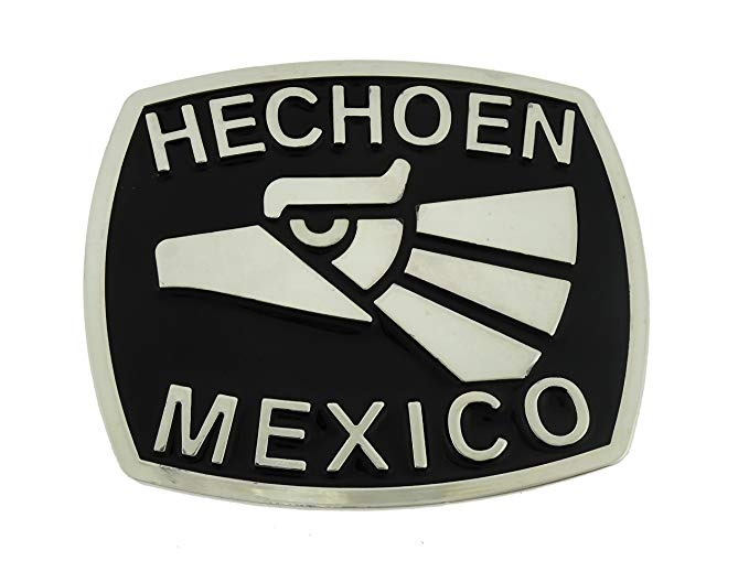 Amazon.com: Hecho En Mexico Eagle Silver Logo Metal Belt.