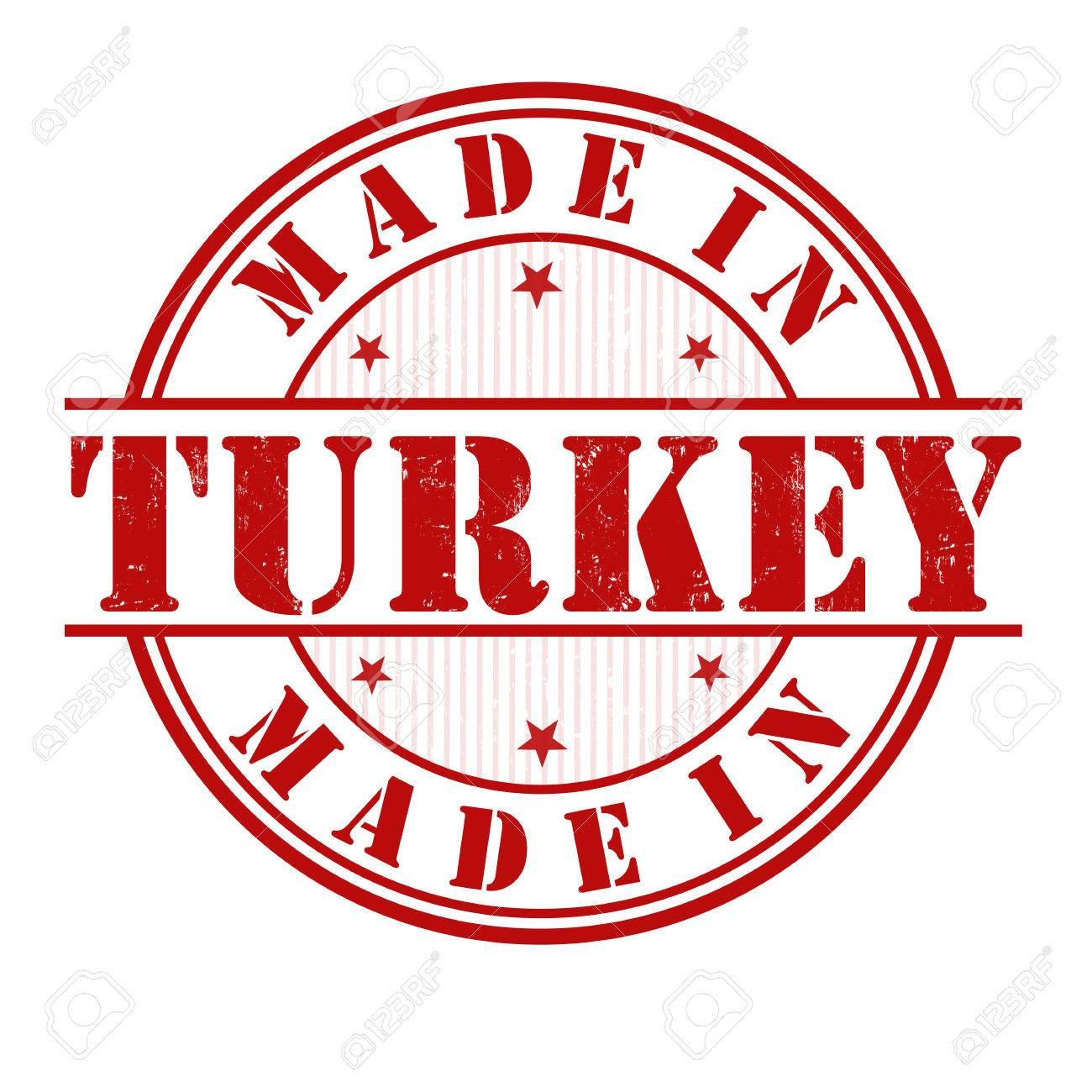 Made in Turkey grunge rubber stamp on white, vector illustration.