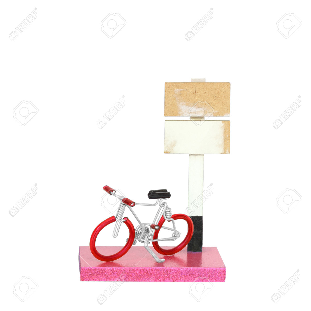 Craft Bicycle Made By Aluminium Wire Isolated On White Background.