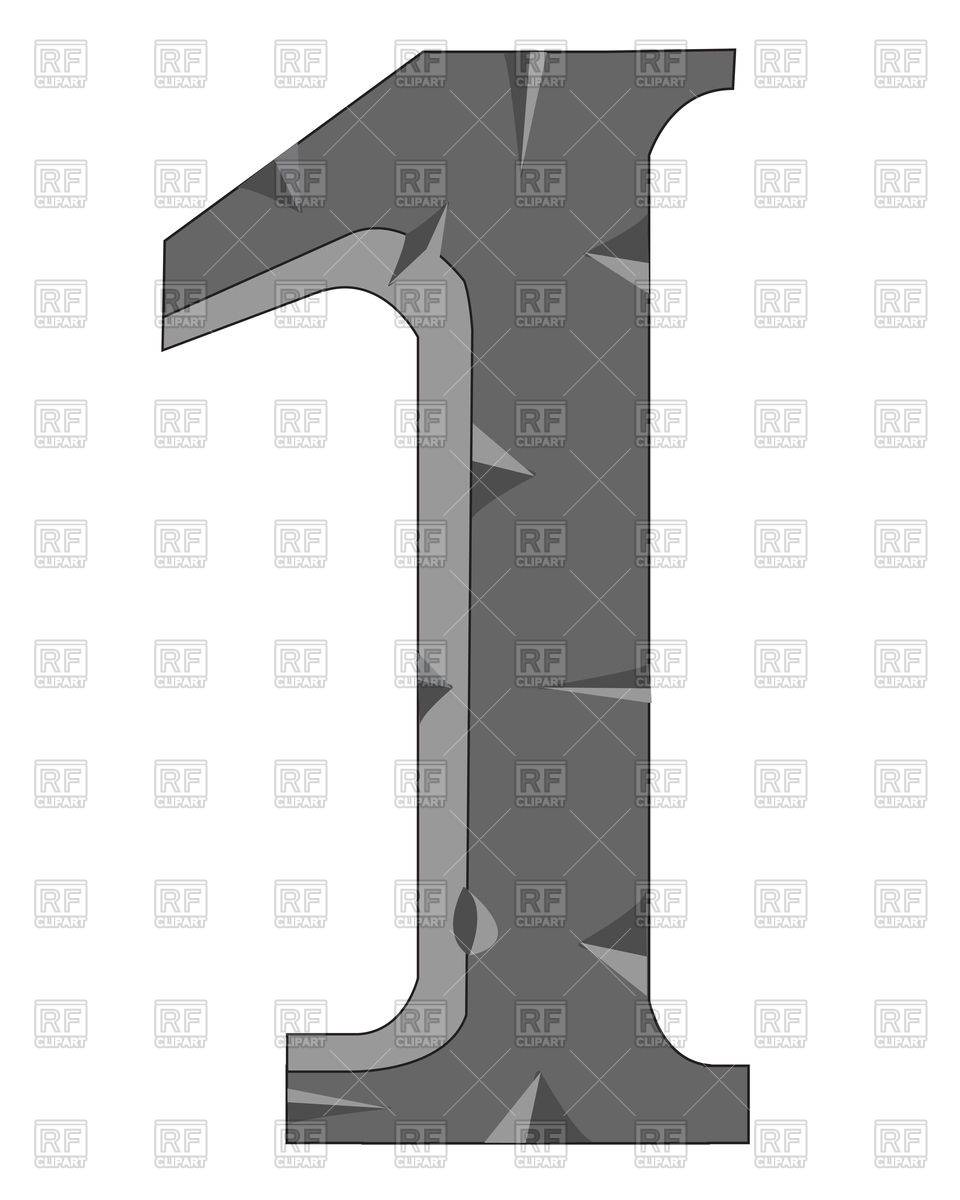 Number 1 made of stone Vector Image #91810.