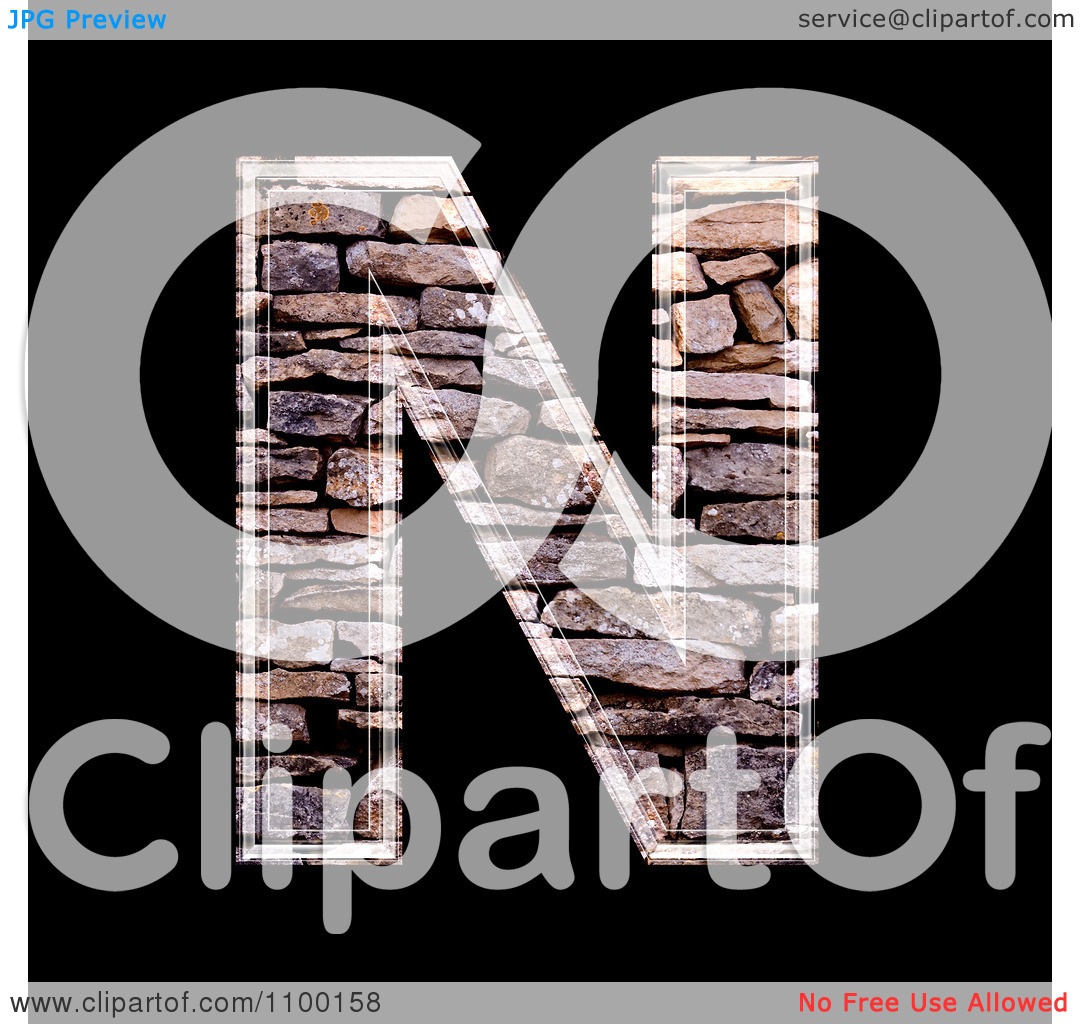 Clipart 3d Capital Letter N Made Of Stone Wall Texture.