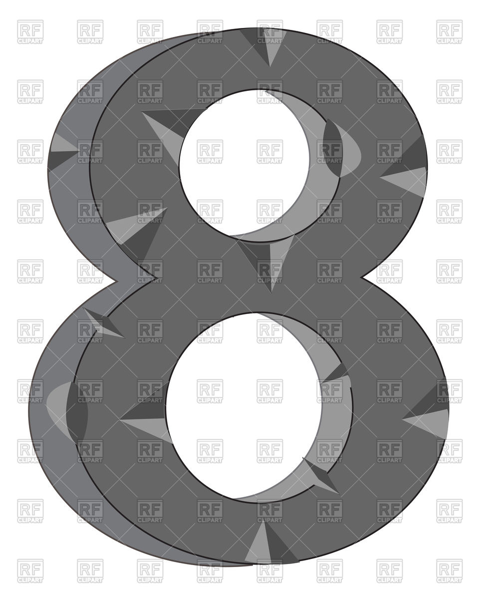 Number 8 made of stone Vector Image #91809.