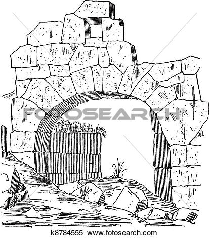 Clipart of Construction of a fortification door made of stone.