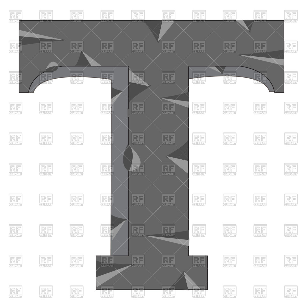 Letter T made from stone Vector Image #91761.