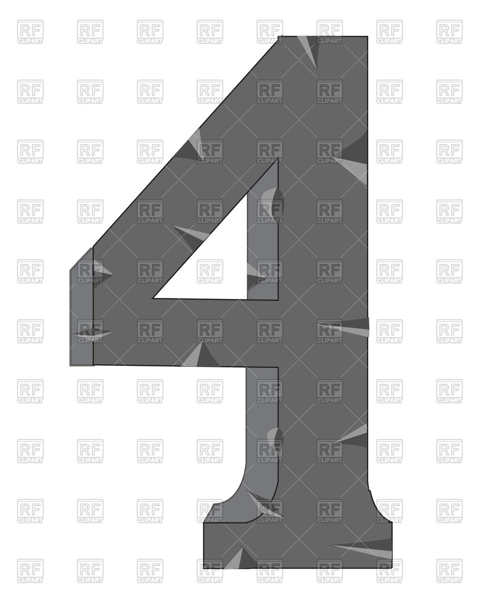 Number 4 made of stone Vector Image #91805.
