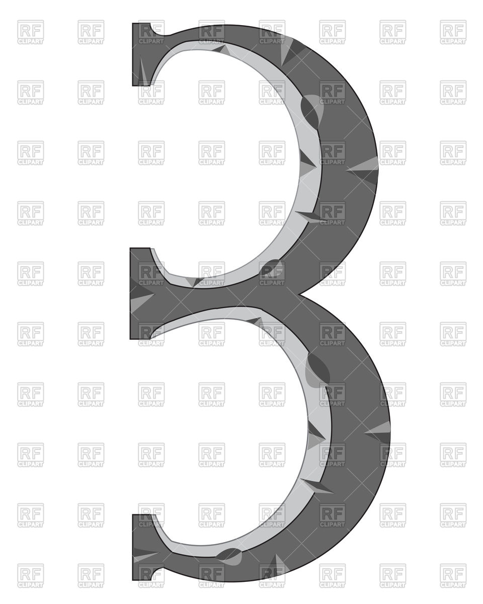 Number 3 made of stone Vector Image #91804.