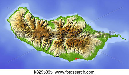 Stock Illustration of Madeira, shaded relief map k3295335.