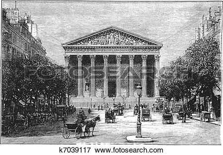 Clip Art of Madeleine Church and Rue Royale in Paris France.