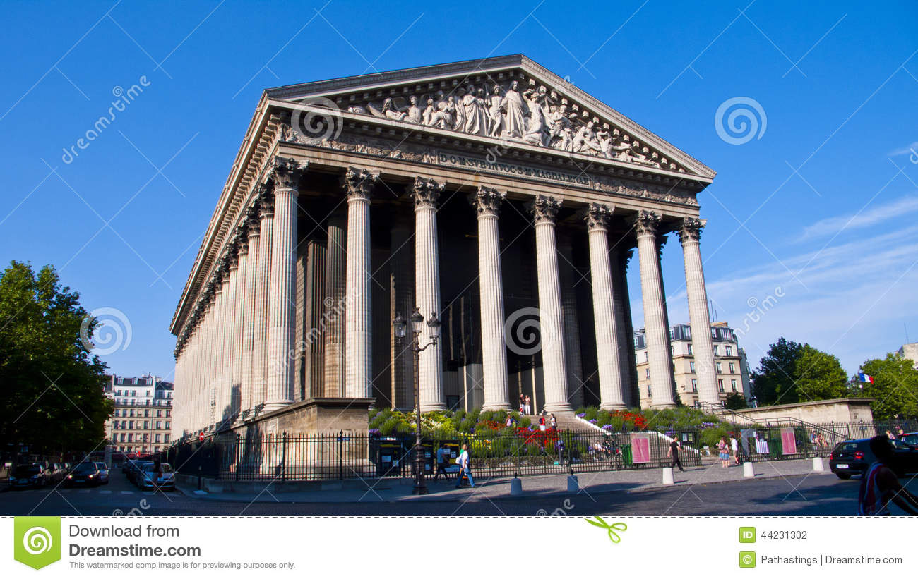 La Madeleine Church. Paris. France. Editorial Photography.