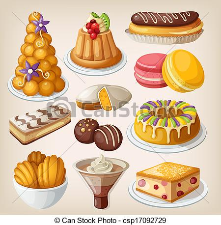 Clip Art of Set of traditional french desserts csp17092729.