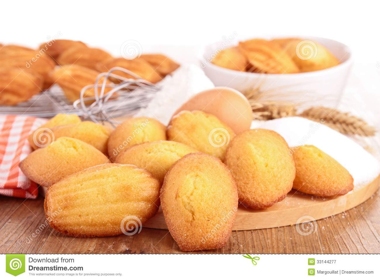 Madeleine Cookie With Ingredient Royalty Free Stock Photography.