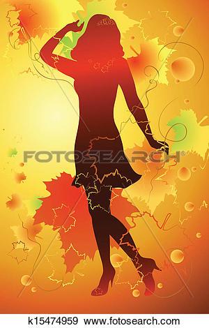 Clip Art of Mademoiselle Autumn k15474959.