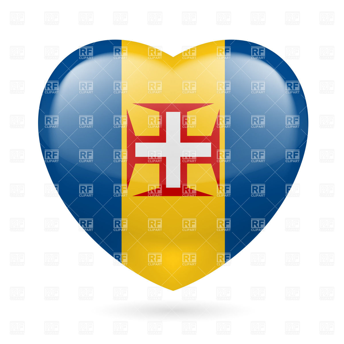 I love Madeira. Heart with flag colors Vector Image #32052.
