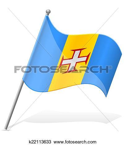 Clipart of flag of Madeira vector illustration k22113633.