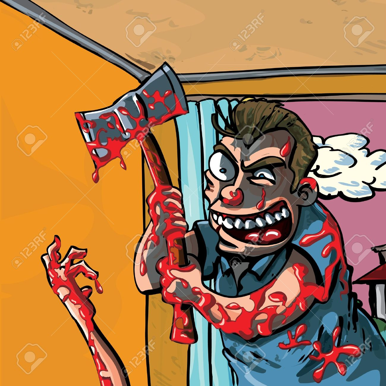 A Cartoon Of A Bloody Madman With Axe Royalty Free Cliparts.