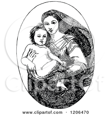 Clipart of a Retro Vintage Black and White Baby Jesus and Mary.