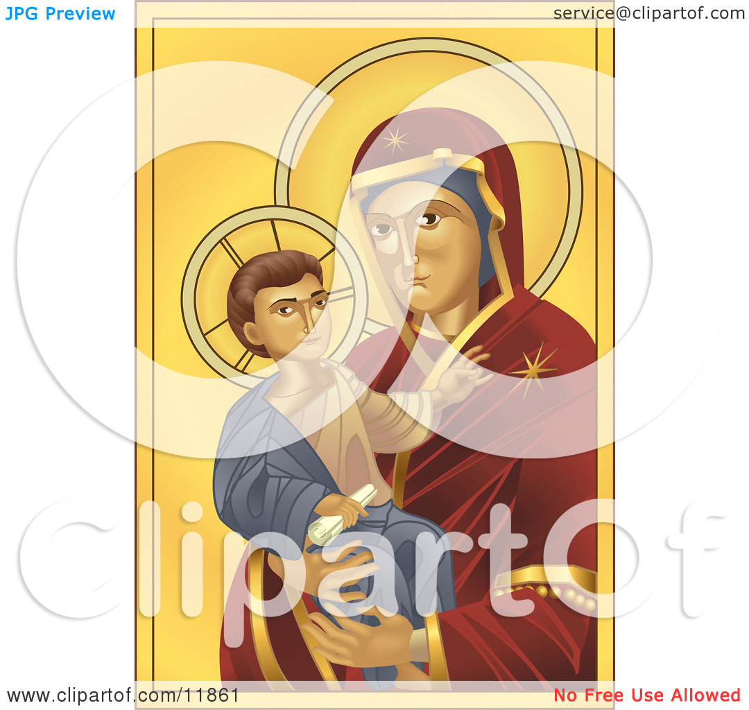 Virgin Mary, Madonna, Holding Baby Jesus Clipart Illustration by.