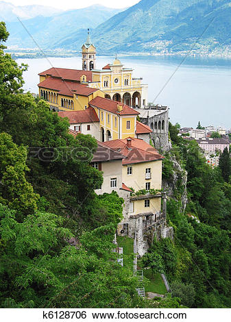 Stock Images of Madonna del Sasso, medieval monastery on the rock.