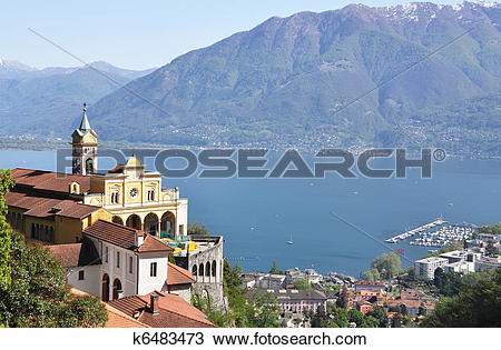 Stock Photo of Madonna del Sasso, medieval monastery on the rock.