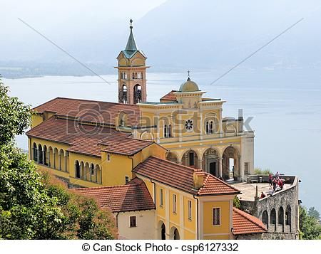 Stock Photo of Old church in Madonna del Sasso, Southern.