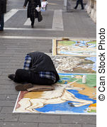 Stock Photographs of Madonnaro, street painter in action.