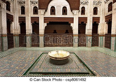 Stock Photo of Interior Madrasa courtyard.