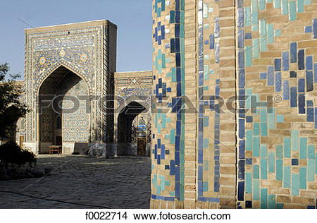 Stock Photo of Uzbekistan, Samarkand, the Registan, Tilla.