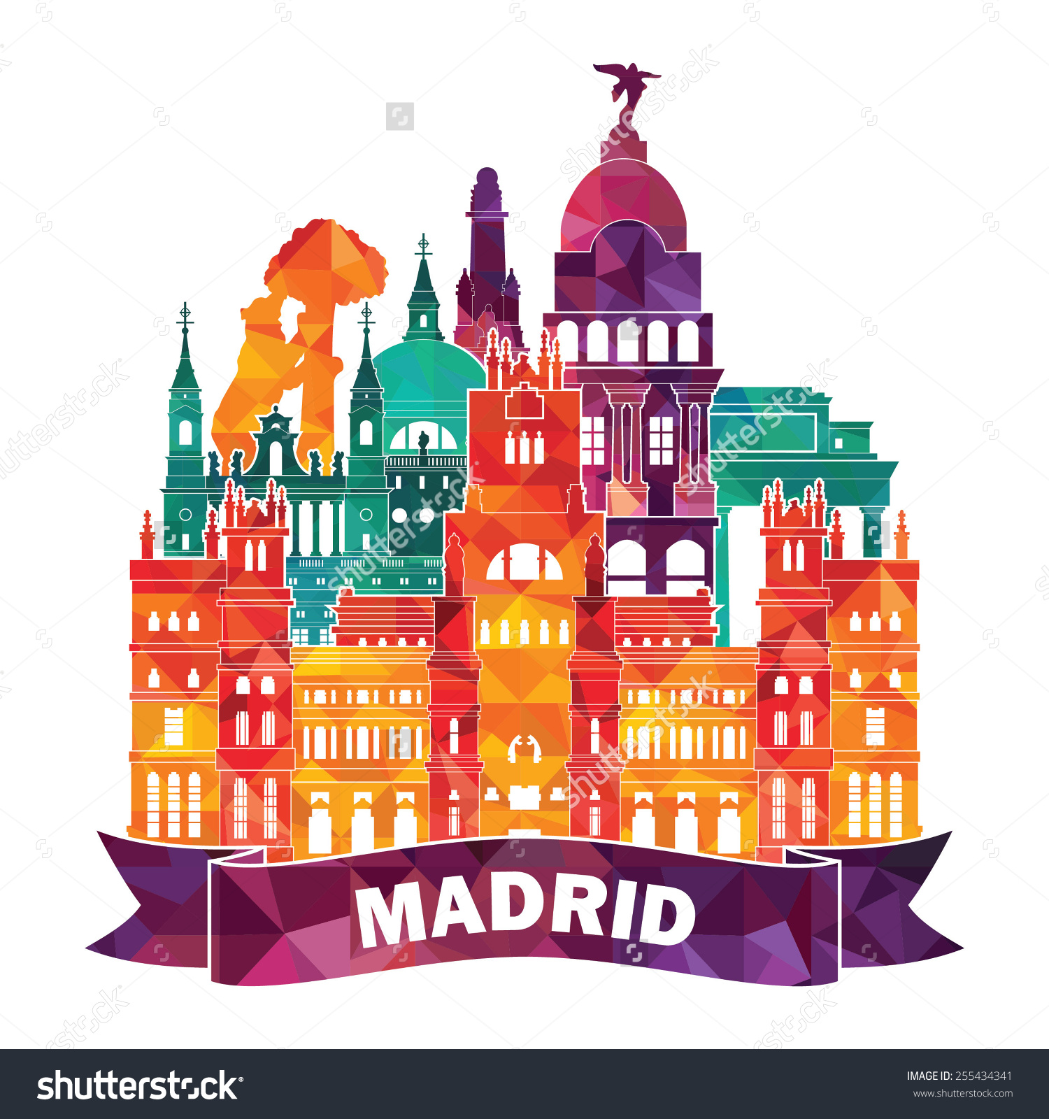 Madrid Skyline Vector Illustration Stock Vector 255434341.