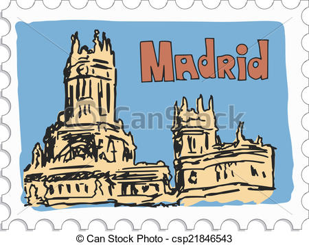 Clipart Vector of Madrid stamp.
