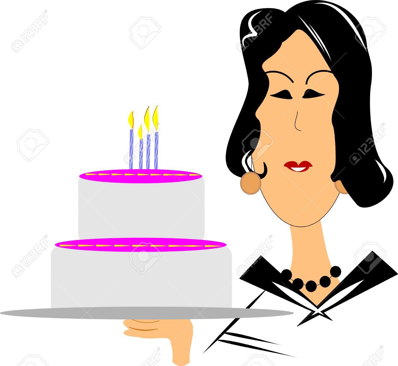 Mujer Madura Que Desean Un Feliz Cumpleaños Ilustraciones.