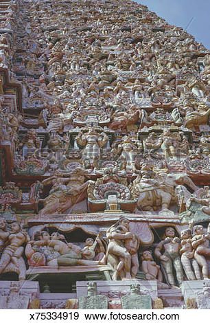 Stock Photograph of Madurai Temple detail with erotic figures.