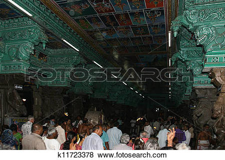 Pictures of Religious ceremony in a Hindu temple Meenakshi in.